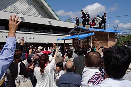 第4回ミニ削ろう会で国宝の茶室「待庵」を再現し、上棟式やもちまきも(2012.5.5)