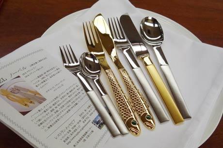 レストラン「メッセピア」がランチセット用に用意している山崎金属工業のノーベルデザインカトラリー