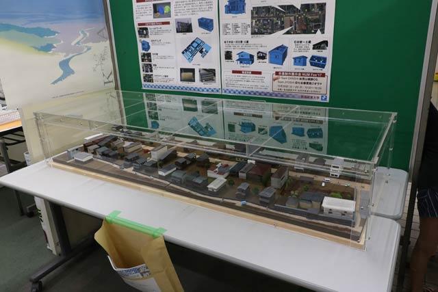 燕三条駅に展示されている新潟経営大学齋藤ゼミが制作した加茂市新町商店街を再現したジオラマ